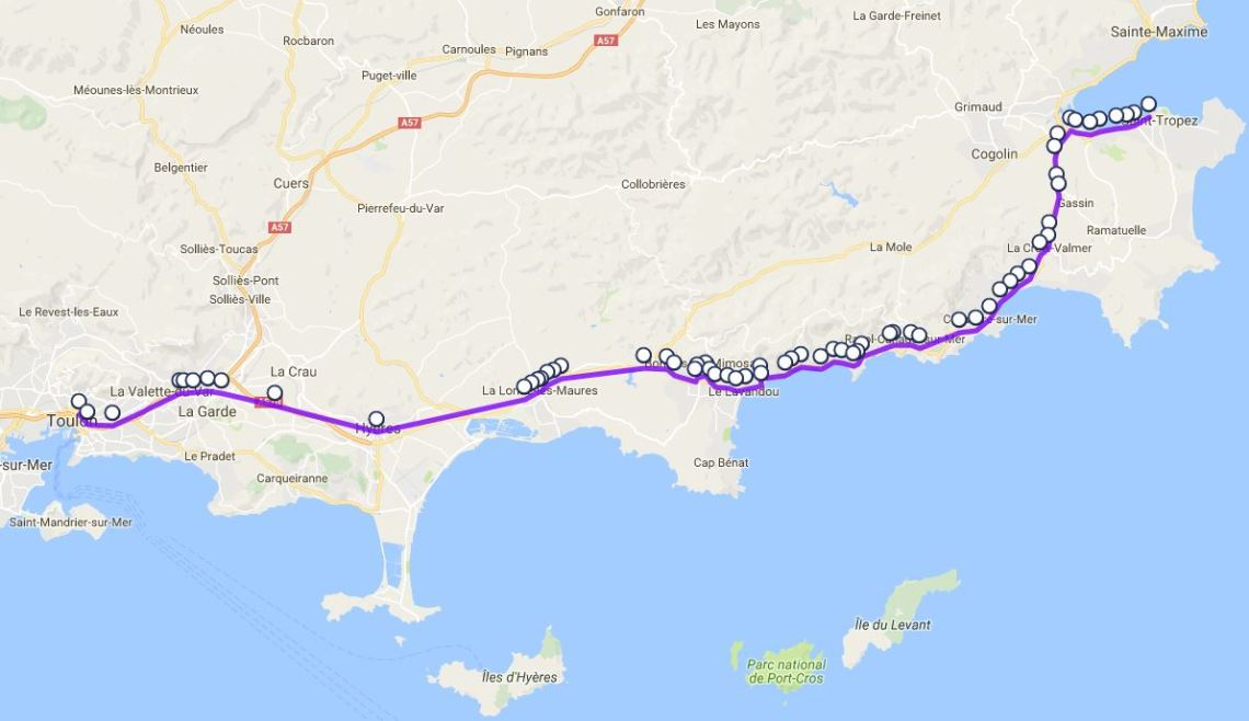 Toulon to St Stropez map from Google